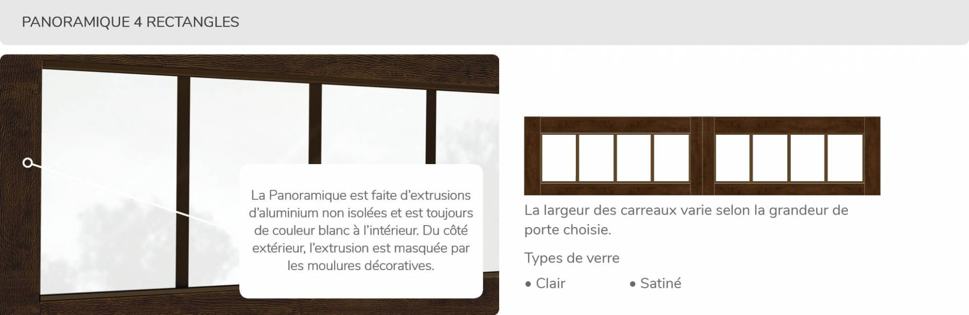 Panoramique-4 rectangles, disponible pour la porte R-16